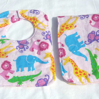 Zoo Animals Baby Bib and Burp pad set on Pink  background