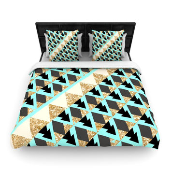 """Nika Martinez """"Glitter Triangles in Gold & Teal"""" Blue Brown Woven Duvet Cover - Woven /"""