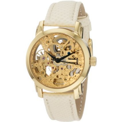 Akribos XXIV Women's AKR431YG Gold Swiss Automatic Skeleton Watch - designer shoes, handbags, jewelry, watches, and fashion accessories | endless.com