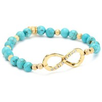 Blee Inara Glass Bead Stretchy Bracelet with Swarovski Infinity Charm Turquoise - designer shoes, handbags, jewelry, watches, and fashion accessories | endless.com