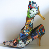 RESERVED for VICTORIA Decoupaged BATMAN Comic Heels Shoes Provided