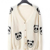 White V-neck Long-sleeved Crochet Panda Cardigan$39.00