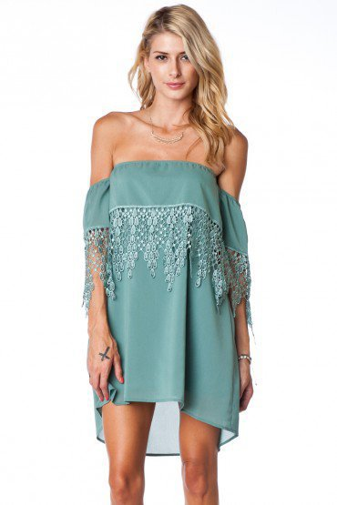 Emilia Lace Trim Dress - ShopSosie.com