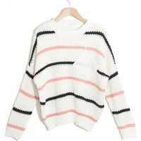 Striped Long Sleeve Round Neck Sweater$40.00