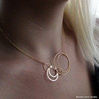 COSMOGolden Circles Necklace by BlondeChick on Etsy