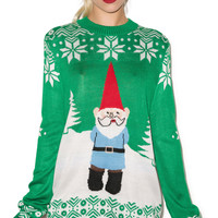 Tipsy Elves Suspicious Gnome Sweater Green