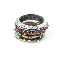 Three Set Rings with Stone Metal Design