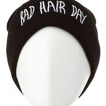 Bad Hair Day Embroidered Beanie by Charlotte Russe - Black