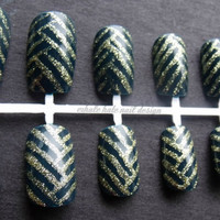 Gold and Navy Basket Weave False Nail Set