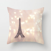 Left my heart in paris Throw Pillow by Jamesy (happypastel)