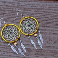 1 1/2 in.  Deep Yellow Dreamcatcher Earrings