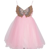 Dresstells Sweet Tulle Dress Embellished with Crystal Butterfly