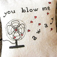 a pillow door hanging vintage fan drawing You Blow by pillowhappy