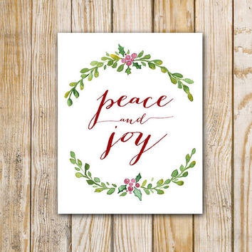 Peace and Joy Watercolor Painting - 8 x 10 - Digital Download - Mistletoe Painting - Instant Download - Christmas decor - DIY