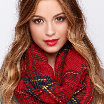 Pardon My Scotch Red Plaid Infinity Scarf