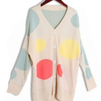 Dot Single-breasted V Neck Cardigan $42.00