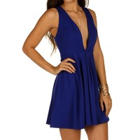 Royal Pleat And Flare Skater Dress