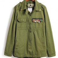 Green Lapel Diamond Colorful Badge Coat$70.00