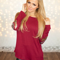 Sequins Elbow Brushed Chevron Tunic Burgundy