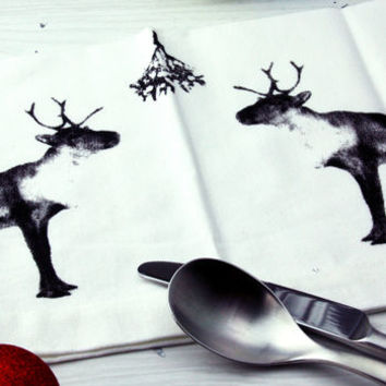 Four Reindeer Christmas Napkins Slight Seconds