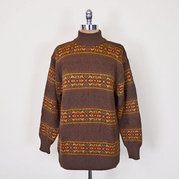 Vintage 90s 70s Brown Southwestern Sweater Jumper Southwest Sweater Tribal Print Fair Isle Sweater Fairisle Sweater Oversize Sweater S M