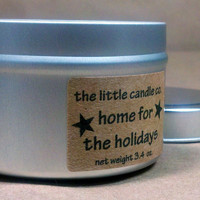 Soy Candle Tin: Home For The Holidays Scented Container Candles