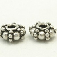 Sterling Silver Oxidized Bali Rondelle Beads 8mm by 4mm Set of 2