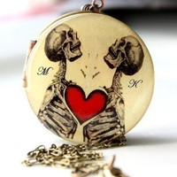 Heart Locket, Skeleton Locket, Gothic Necklace, Weddings, Vintage locket