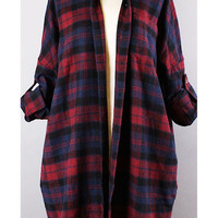 Flannel Plaid Tunic - Burgundy