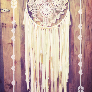 Light Pink, Cream, & Gold Shabby Chic Heart Crochet Doily Boho Glitter Feather Dreamcatcher