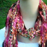 Fringe Scarf for Women Red, Orange, Green , Pink  Fiber Arts, Fiesta