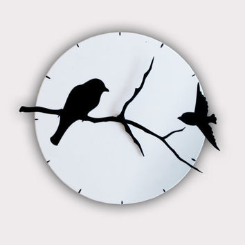 Birds on Tree Shadows Wall Clock