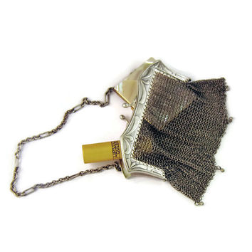 Art Nouveau Antique Mesh Purse, Silver and Ready to Wear