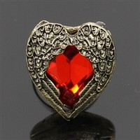Red rhinestone ring with wings