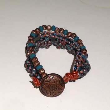 Handmade Bracelet in Teal and Copper