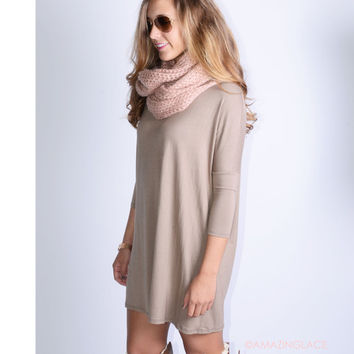 Heaven's Bliss Taupe Quarter Sleeve Solid Dress