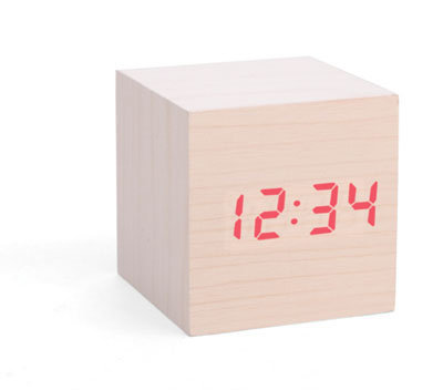 Alarm Clock Wood Cube