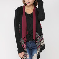 Marled Stripe Open Cardigan