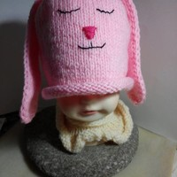 My Little Pink Bunny Beanie by IllusionsbyDonna on Zibbet