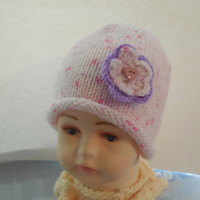 Newborn Pink Flowered Beanie Hat by IllusionsbyDonna on Zibbet