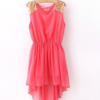 Sequin Shoulder High-Low Chiffon Dress