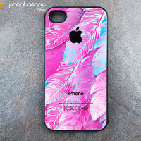 iPhone 4 case iPhone 4s case. Hard Plastic or Soft Rubber. Pink Feather