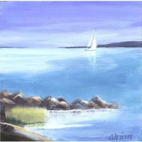 Serene Sailboat Scene on 5x5 inch Archival Panel