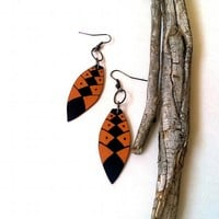 Painted wood earrings orange and black