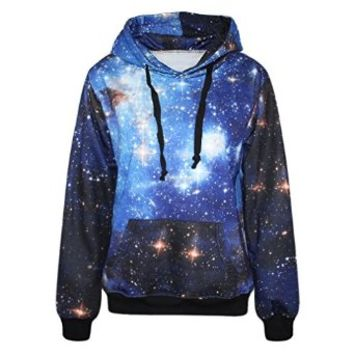 IYZF Women's Colourful Printing Blue Galaxy Hooded Pullovers Sweatshirts