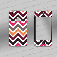 Iphone 4/ 4s Decal - Chevron colour pattern