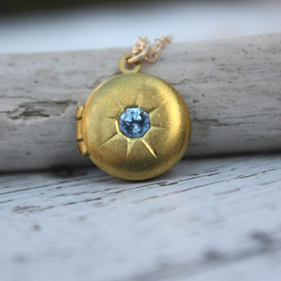 Vintage locket necklace - vintage round locket & aquamarine rhinestone . 14K gold-filled chain . simple, sweet gift . something blue