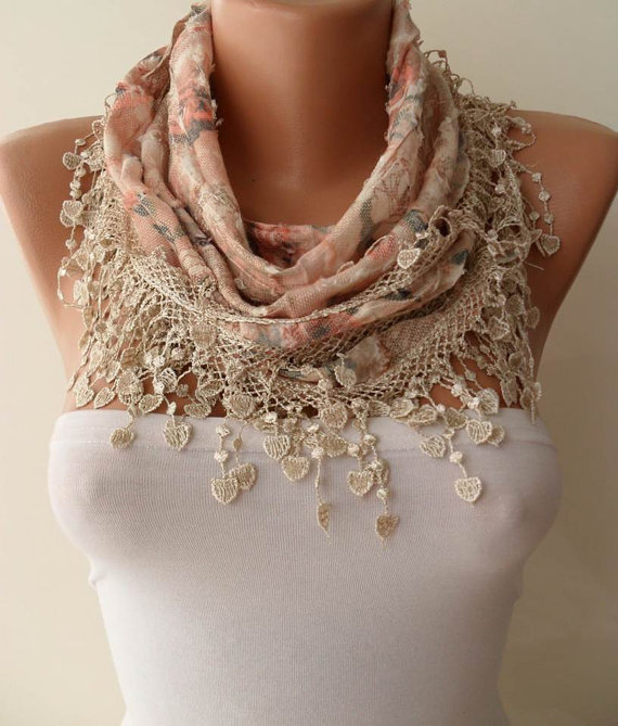 Salmon and Beige Scarf with Trim Edge -- Flowered Fabric - For Summer