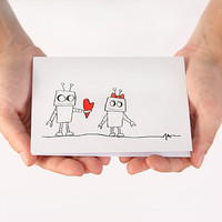 Anniversary Card. I Love You Card. Robot Boy Love. Red, Black, White. Blank Card.