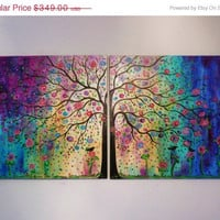 Sale 45 % off thru Aug. Commission made to order  large original oil painting Abstract  Folk art Tree ,blue , violet & birds  48- free ship